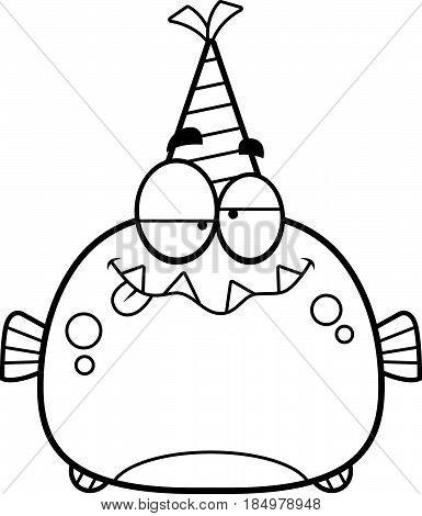 Cartoon Piranha Drunk Party