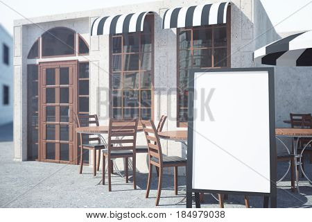 Side view of summer cafe veranda with empty whiteboard stand. Menu concept. Mock up 3D Rendering