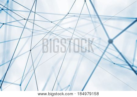 Abstract connected points on white background. Connectivity concept. 3D Rendering