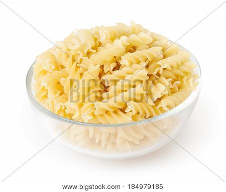 Fusilli pasta in bowl isolated on white background with clipping path