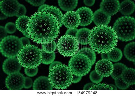 Green virus background. 3D Rendering, close up