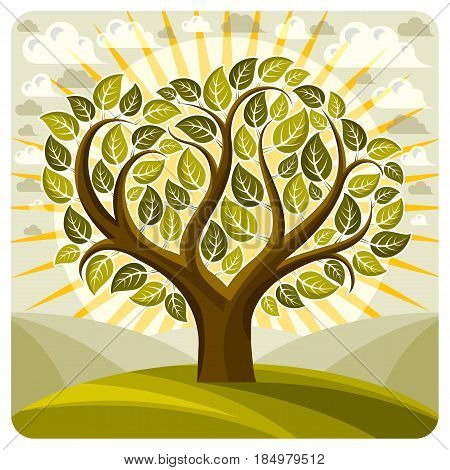 Art Vector Graphic Illustration Of Creative Tree Growing On Wonderful Meadow, Idyllic Landscape With