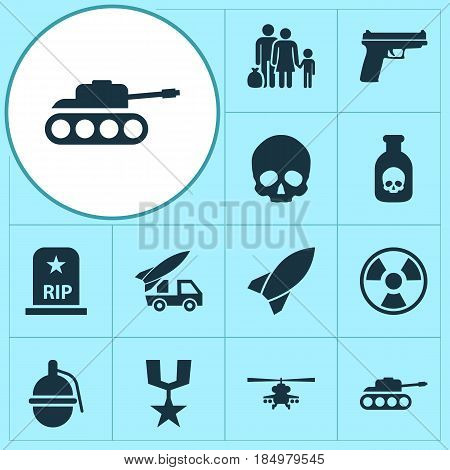 Battle Icons Set. Collection Of Rip, Danger, Missile And Other Elements. Also Includes Symbols Such As Grave, Bomb, Nuclear.