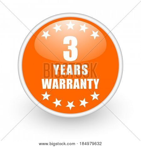Warranty guarantee 3 year modern design glossy orange web icon on white background.