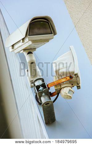 Cctv Security Camera And Urban Video. Closeup View.