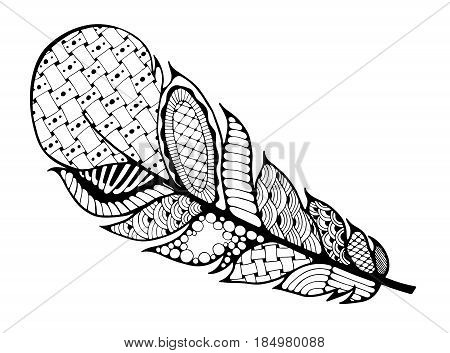 Ethnic Feather on a white background. Vintage Artistically hand drawn stylized tribal feather. Doodle feather. Ink drawing. Coloring book. Black and White. Boho style. Stock vector.