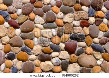 Stone wall background, Pebble stones,Color stone in background