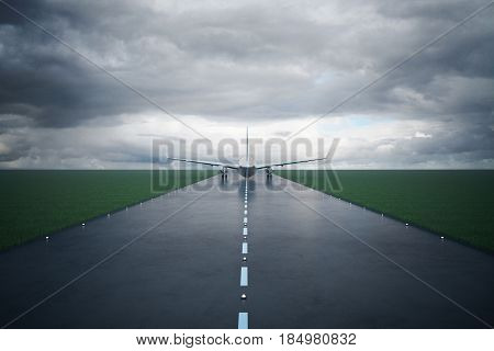 Front view of airplane on runway. Dull sky background. 3D Rendering