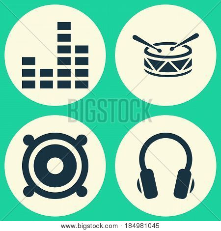 Audio Icons Set. Collection Of Earphone, Barrel, Megaphone And Other Elements. Also Includes Symbols Such As Drum, Loudspeaker, Megaphone.