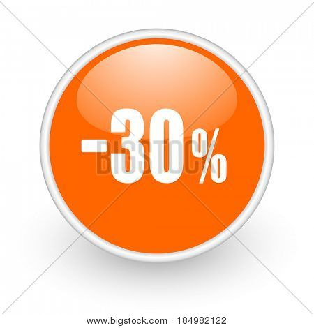 30 percent sale retail modern design glossy orange web icon on white background.