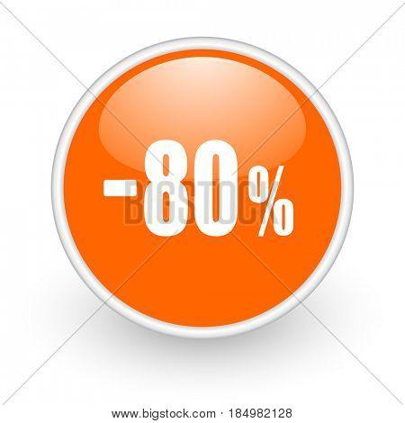 80 percent sale retail modern design glossy orange web icon on white background.