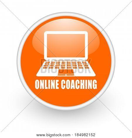 Online coaching modern design glossy orange web icon on white background.