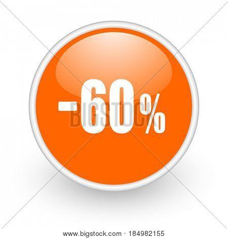 60 percent sale retail modern design glossy orange web icon on white background.