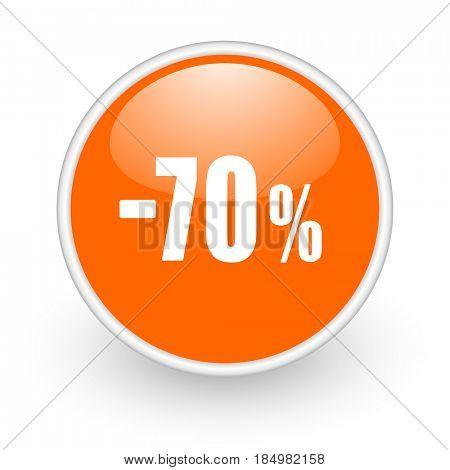 70 percent sale retail modern design glossy orange web icon on white background.