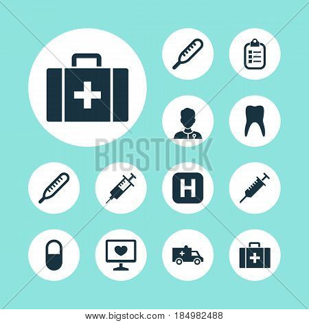 Drug Icons Set. Collection Of Hospital, Chest, Dental And Other Elements. Also Includes Symbols Such As Healthy, Case, Hospital.