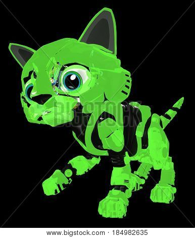 Robotic kitten glowing 3d illustration vertical dark background
