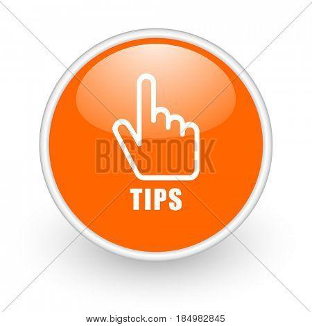 Tips modern design glossy orange web icon on white background.