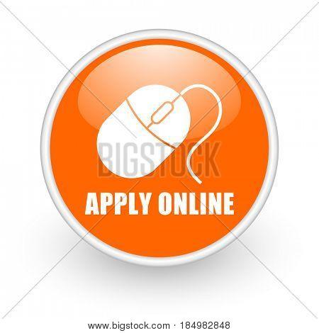 Apply online modern design glossy orange web icon on white background.