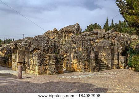 Enter in Roman amphitheater in Italica - Roman city near Seville Spain
