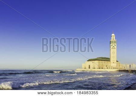 View on seafront of Grande Mosquée Hassan II in Casablanca Morocco