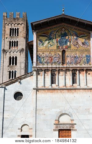 Detail of the Basilica of San Frediano (in romanesque style - XII century) in the ancient town of Lucca Toscana (Tuscany) Italy Europe