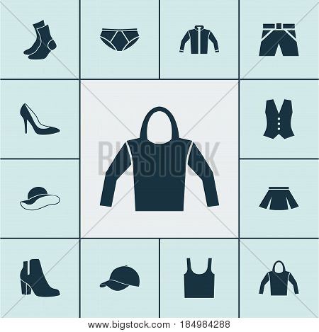 Clothes Icons Set. Collection Of Cardigan, Waistcoat, Half-Hose And Other Elements. Also Includes Symbols Such As Shoes, Sleeveless, Shoe.