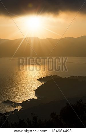 Gulf of la Spezia or Gulf of the poets (Golfo della Spezia) at sunset Liguria Italy Europe