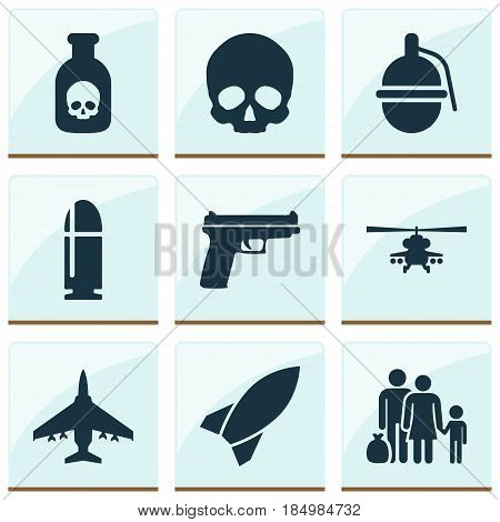 Army Icons Set. Collection Of Cranium, Fugitive, Danger And Other Elements. Also Includes Symbols Such As Fighter, Weapons, Bomb.