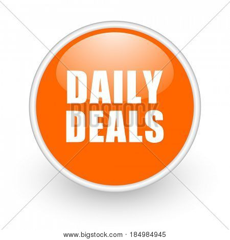 Daily deal modern design glossy orange web icon on white background.