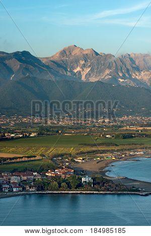 Versilia Coast with the Magra river the Ligurian sea the Apennines and the Apuan Alps. Tuscany Liguria Italy