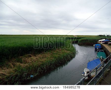 The River Glavon and Cley Marshes at Cley-next-the-Sea in Norfolk