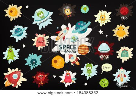 Space Labels Set - Cartoon Aliens and Galaxy Monsters with Shuttles Rockets and Spaceships on Black Background. Stickers for Design of T-shirts or Sweatshot. Vector Illustration.