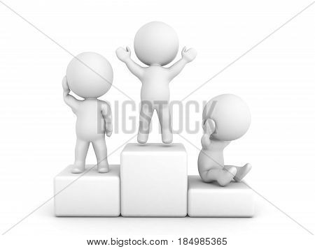 3D illustration of a podium with a character on each place depicting the respective emotion. Image can be used in any competition illustration.