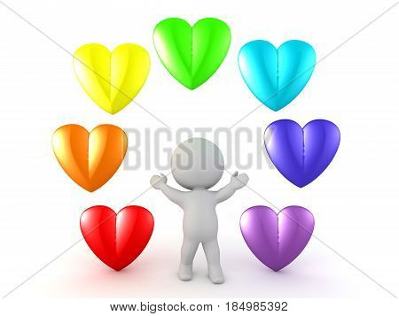 3D Character with rainbow colored cartoon hearts around him. Image could convey good health or love.
