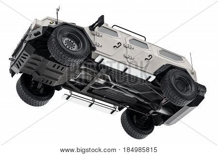 Suv car white luxury suspension, bottom view. 3D rendering