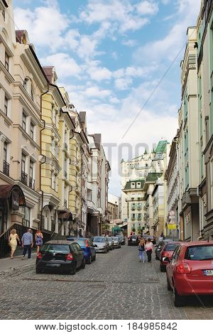 Kiev, Ukraine - September 11, 2016: Vozdvizhenka street on weekend. People walking through the street passing cafes restaurants and shops. It is a major tourist attraction of the city
