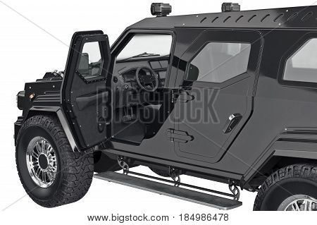 Suv auto crossover with open doors, close view. 3D rendering