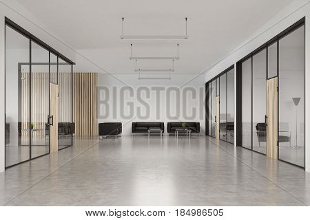Front view of a glass office waiting area interior with a wooden door a spacious lobby with concrete floor ceiling lamps and leather armchairs near a coffee table. 3d rendering mock up