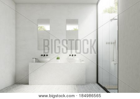 Two bathroom sinks with mirrors hanging above them and a potted plant standing between them. 3d rendering.