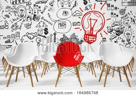 Front view of rows of white chairs standing in an auditorium on a white floor near a wall with a business sketch and a red light bulb. There is a red chair among them. 3d rendering