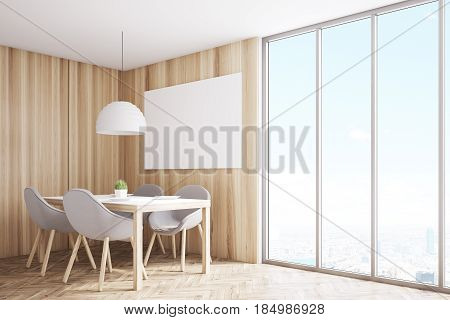 Side view of a kitchen corner with light wooden walls a horizontal poster hanging above a table with four chairs and a panoramic window. 3d rendering mock up