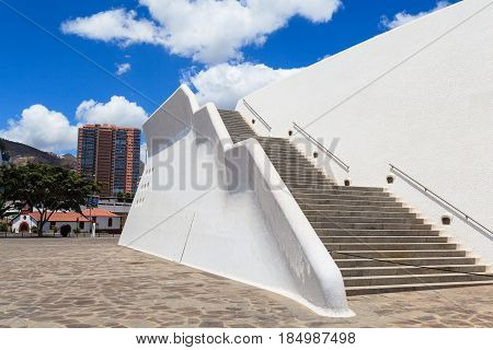 Santa Cruz de Tenerife, Spain - May 03, 2012: Auditorio de Tenerife - futuristic and inspired in organic shapes, building designed by Santiago Calatrava