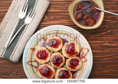 Summer dessert lazy dumplings with cottage cheese. Healthy eating concept.