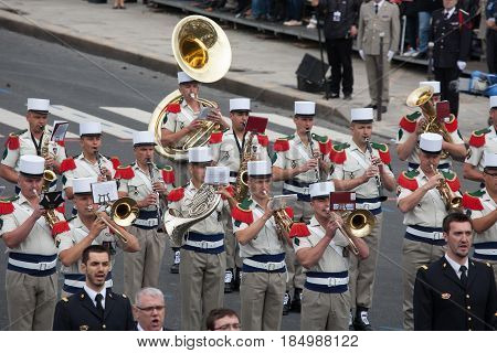 Paris France - July 14 2012. Soldiers-musicians from the French Foreign Legion march during the annual military parade in honor of the Bastille Day.