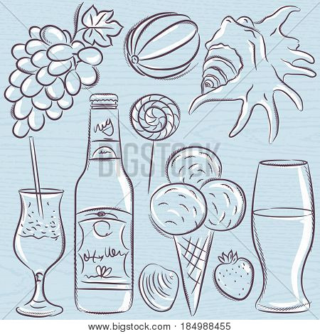 Set of summer symbols clams shells cocktail fruits beer ice cream on a blue grunge background vector illustration.