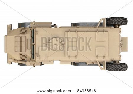 Truck military army transportation vehicle, top view. 3D rendering
