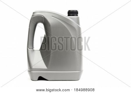 Gray canister with machine oil isolated on white background