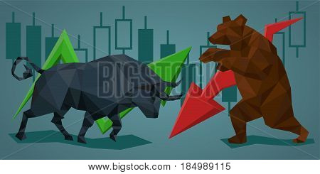 silhouette bull and bear with financial graph stock market and business concept