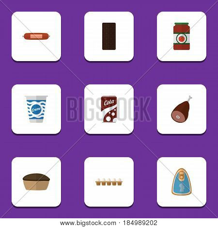 Flat Cooking Set Of Ketchup, Canned Chicken, Tart And Other Vector Objects. Also Includes Yogurt, Drink, Confection Elements.