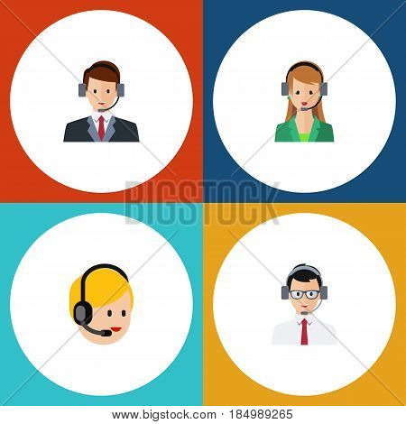 Flat Hotline Set Of Call Center, Secretary, Help And Other Vector Objects. Also Includes Secretary, Help, Call Elements.